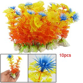 Jardin-Aquarium-Plastic-Artificial-Plants-Fish-Tank-Dcor-10-Piece-Orange-0