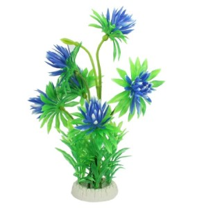 Jardin-Artificial-Plastic-Flower-Plant-for-Aquarium-11-Inch-High-GreenBlue-0