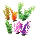 Aquarium-Plastic-Plant-Decoration-w-Ceramic-Base-6pcs-Color-0