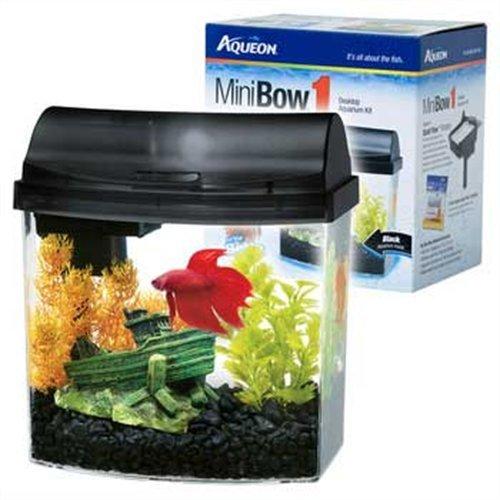 Aqueon 1 gallon mini bow aquarium kit black fish tank for Fish tank equipment