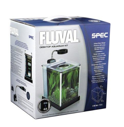 Fluval spec desktop glass aquarium 2 gallon fish tank for Fish tank equipment