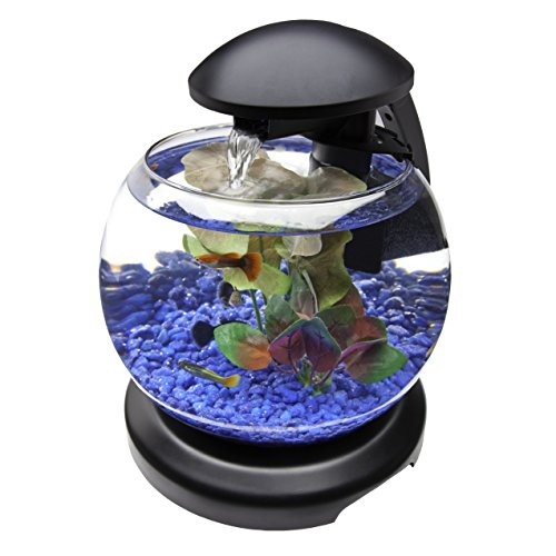 Tetra waterfall globe aquarium bowl with leds 1 8 gallon for Tetra fish tank