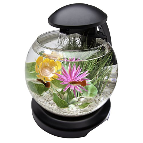tetra waterfall globe aquarium bowl with leds 1 8 gallon
