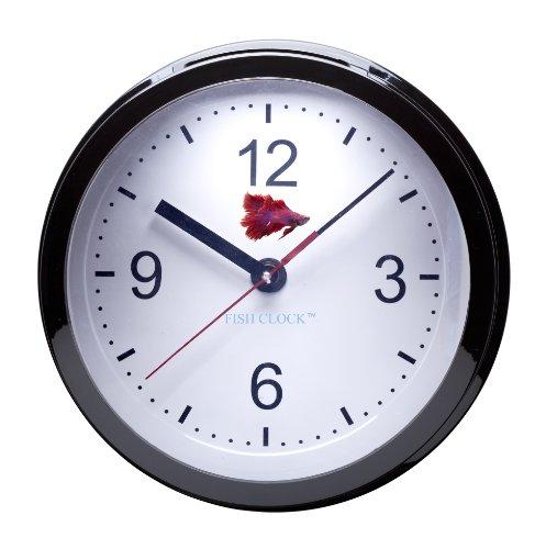 Aquavista Betta Fish Clock Aquarium Pearl Black Fish
