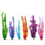 LGI-Plastic-Aquarium-Fish-Tank-Grass-Plants-Ornament-Dcor-6-Piece-Assorted-Color-12-14-long-0